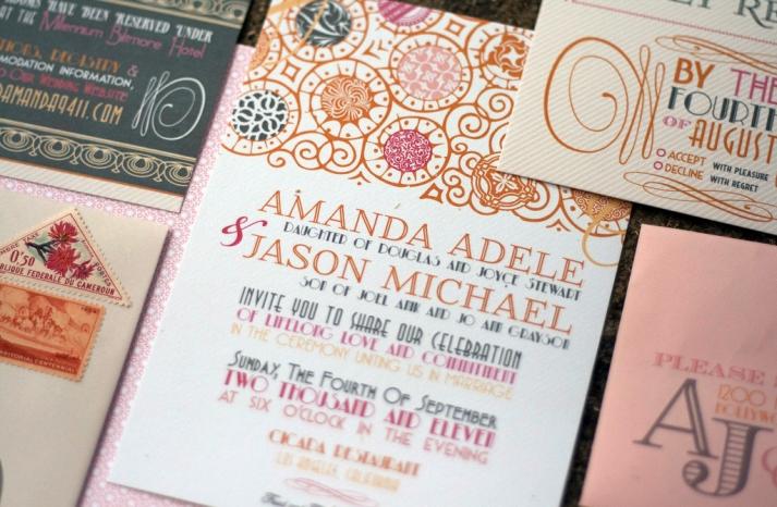 Romantic Art Deco Wedding Invitations