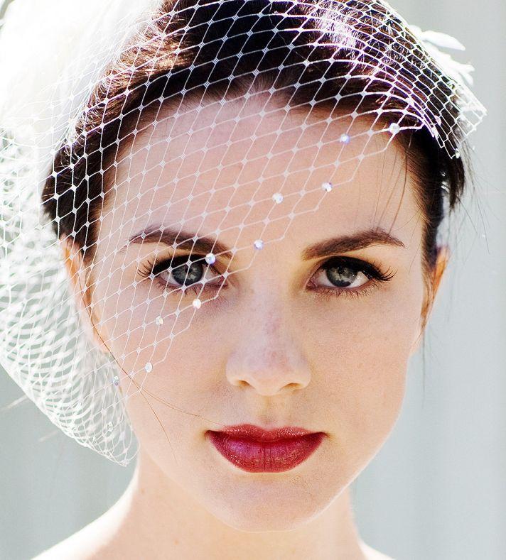 Classic Birdcage Bridal Veil with Swarovski Crystals