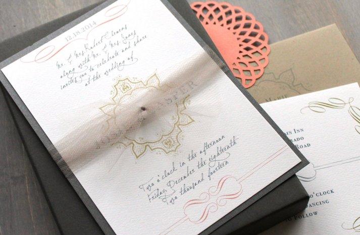 Elegant Vintage Modern Wedding Invitation