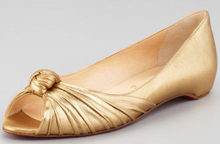 Gold Wedding Shoes Peep Toe Ballet Flats Christian Louboutin