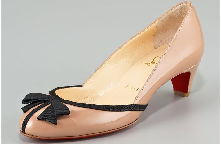 Nude Patent Wedding Shoes with Black Bow