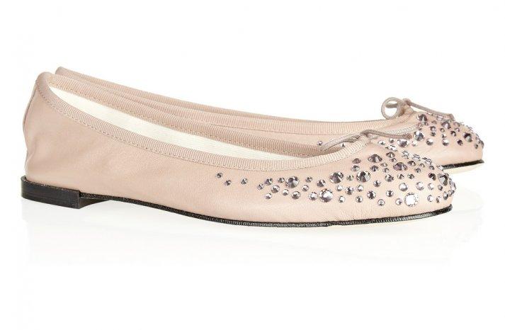 Pretty Blush Ballet Flats Crystal Embellished Wedding Shoes