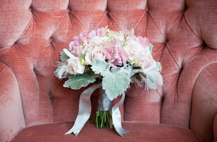 Vintage Romance Bridal Bouquet Light Pink Green