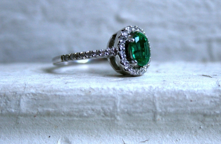 Vintage Engagement Ring with Emerald Center Stone