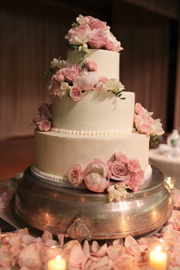 Classic Wedding Cake with Romantic Pink Flowers