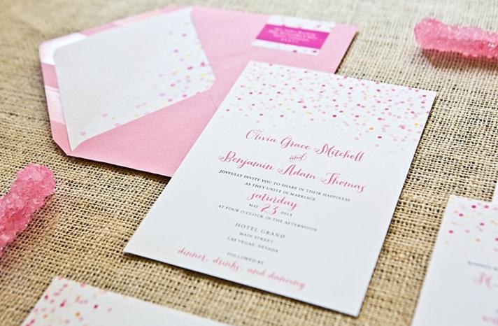 Whimsical Wedding Invitations Confetti Design