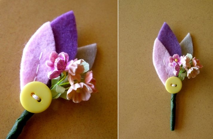 Felt and Button Grooms Boutonniere