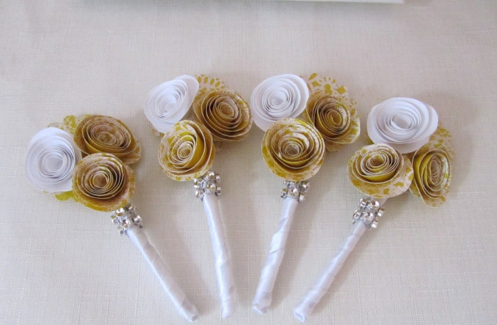 Paper Rosette Wedding Boutonnieres