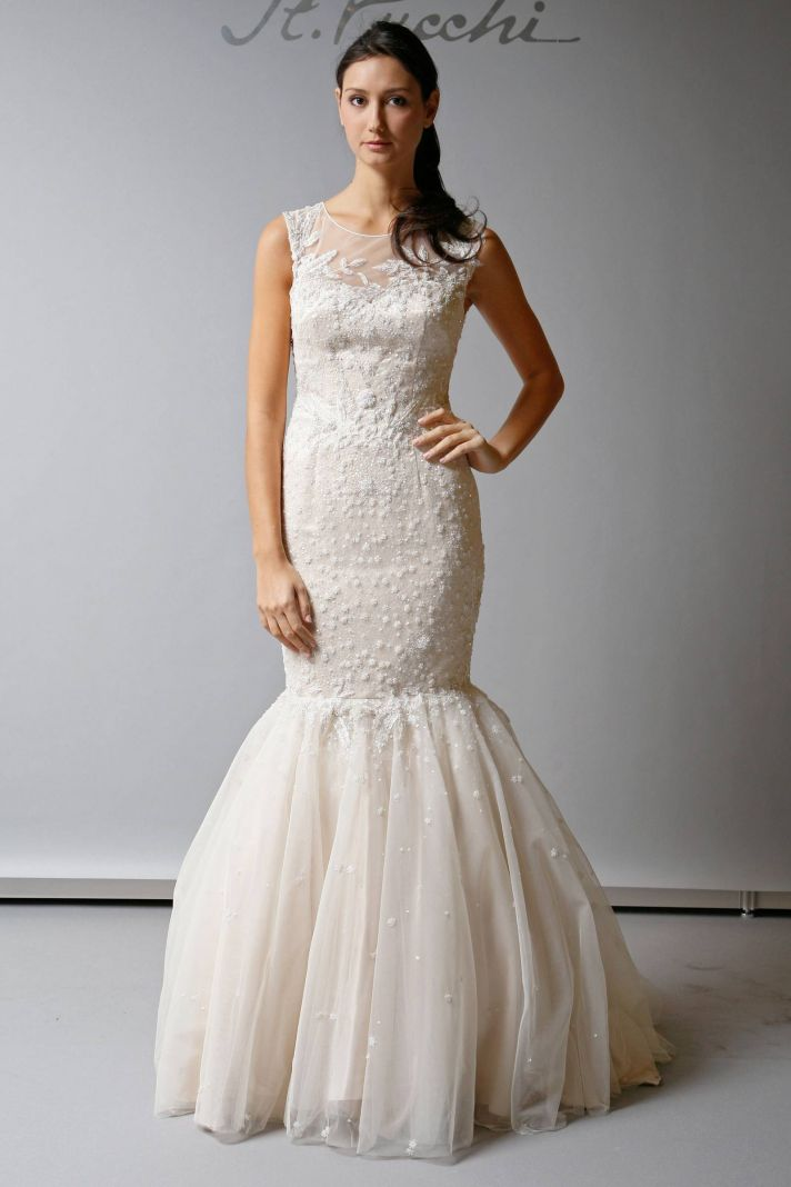 Favorite illusion neckline wedding gowns of 2013 for Wedding dress with illusion top