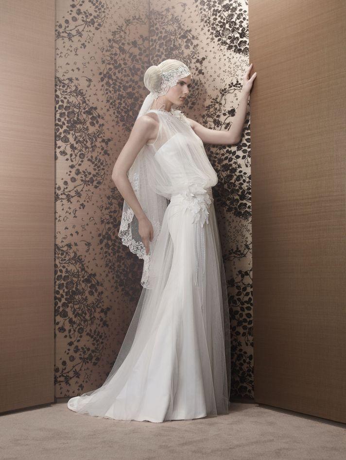 Romantic 2013 Wedding Dress Sheer halter