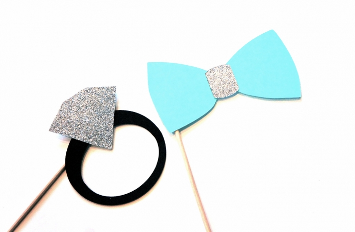 Engagement Ring and Bow Tie Photobooth Props