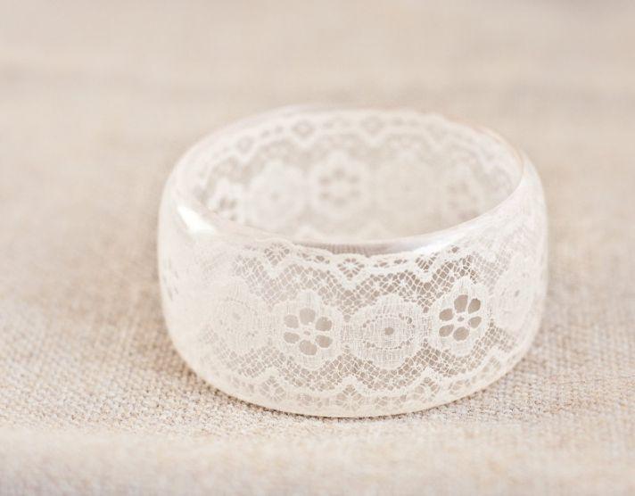 Lace embellished bridal cuff bracelet