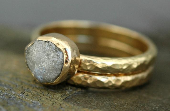 Bezel Set Engagement Ring with Large Rough Diamond