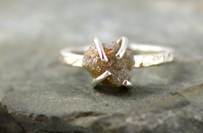 3 carat engagement ring rough diamond