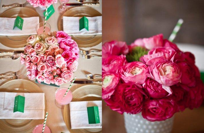 Romantic Pink Wedding Flower Arrangements for Reception