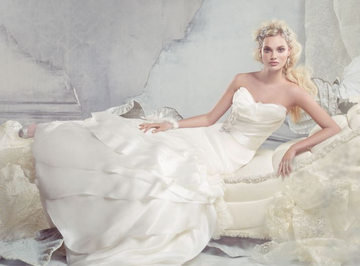 alvina valenta bridal silk satin organza gown sweetheart neck layers ribbon belt natural waist tiere