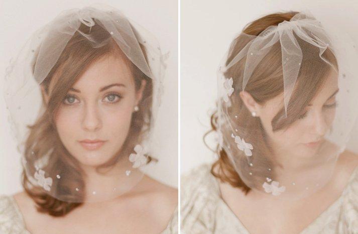 Classic Bridal Veil Birdcage Hair Accessory Floral Petals