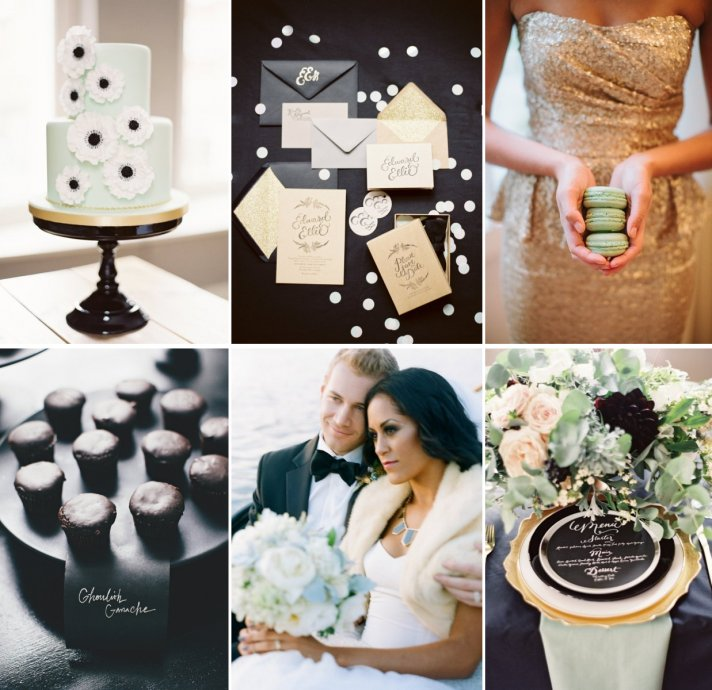 Wedding Colors Gilded Black Tie with Cool Mint Green Inspiration