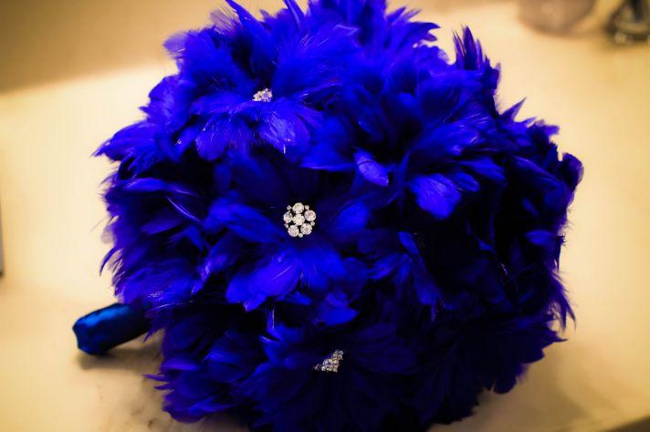 Cobalt Blue Feather Bridal Bouquet