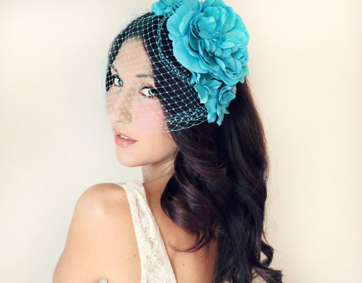 Turquoise Blue Bridal Headpiece