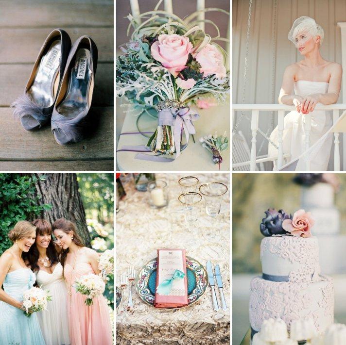 Romantic Wedding Colors Blush Lavendar Pastel Aqua Sage