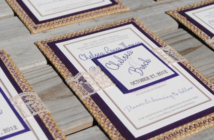 Lace and Burlap Unique Wedding Invitations