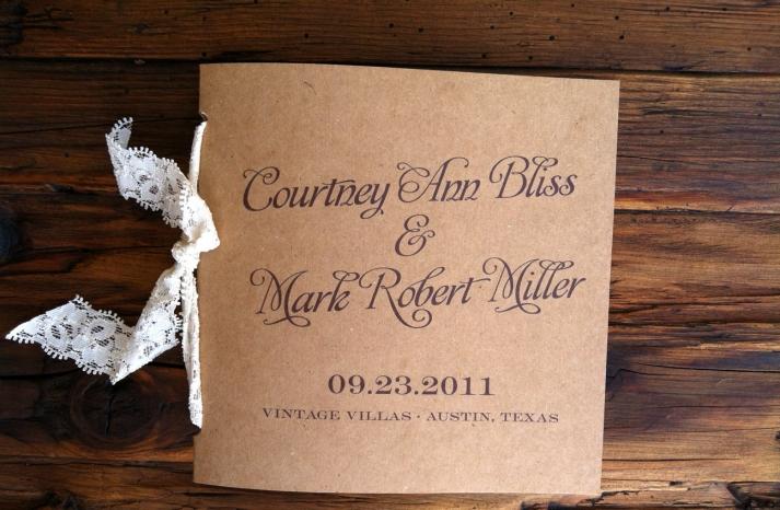Lace Tied Rustic Wedding Programs