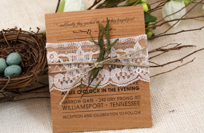 Rustic Wood Wedding Invitation with Lace Belly Band