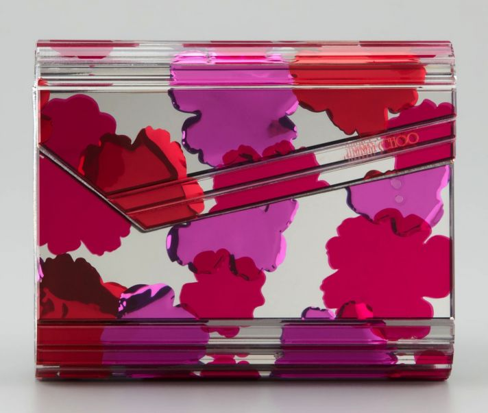 Jimmy Choo Bridal Clutch Clear with Red Pink Flowers