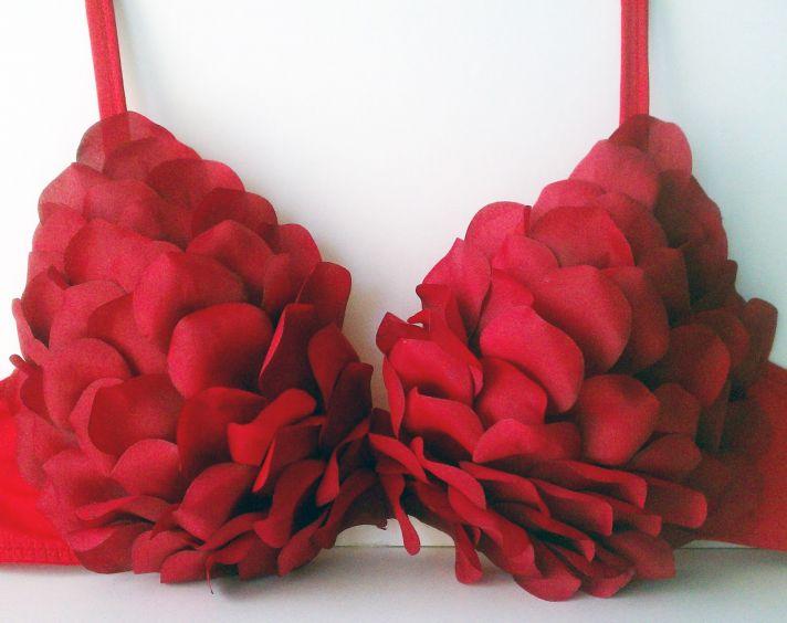 Red Rose DIY Bra for V Day Brides