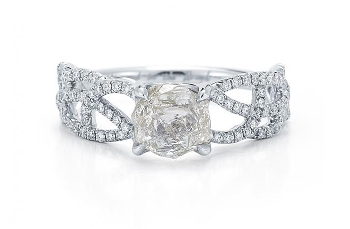 Rough Diamond Engagement Ring Interweaving Band