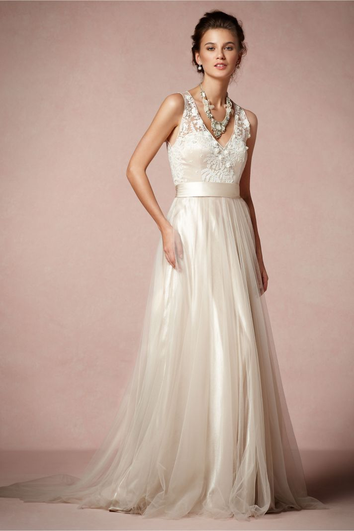 Lace and Tulle over Blush Wedding Dress