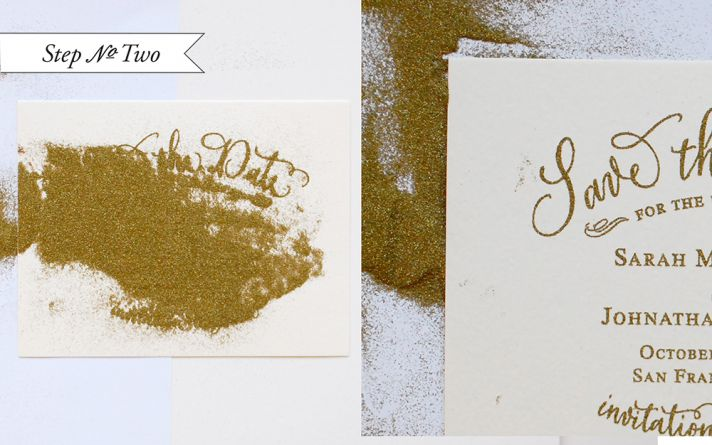 Gold Embossed Wedding Save the Date DIY