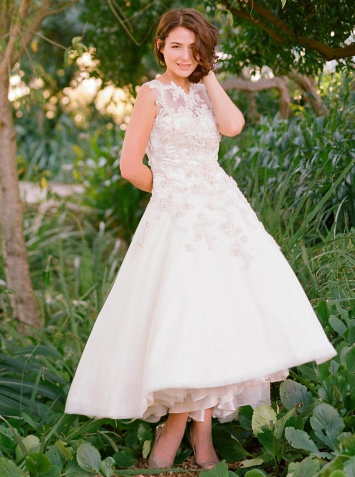 2013 Tea Length Wedding Dress with Illusion Neckline Magnolia