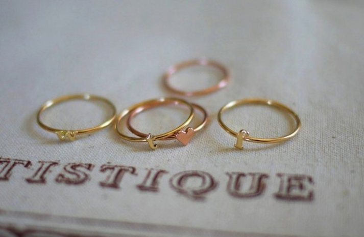 Stackable Initial Wedding Bands