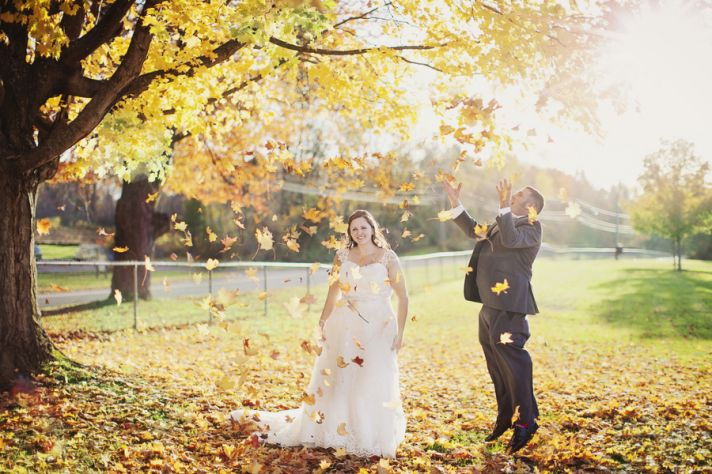Fall Bride with Adorable Flower Girl