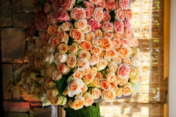 Ombre Wedding Flower Arrangements Peach Pink Roses