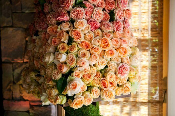 Ombre Wedding Flower Arrangements Peach Pink Roses