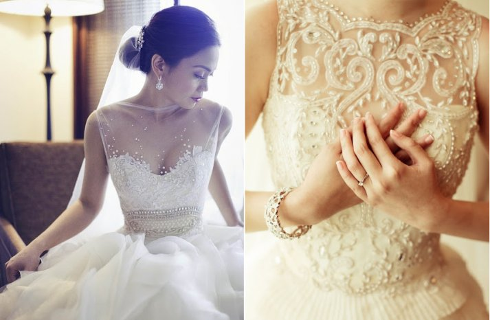 Beaded Illusion Neckline Wedding Dress