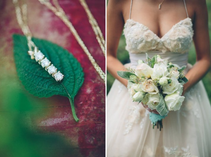 Emerald Gold Wedding Color Ideas Bouquet and Bridal Jewelry