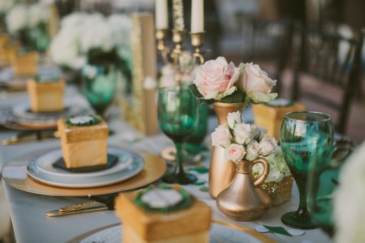 Emerald Green and Gold Engagement Party Inspiration 0016