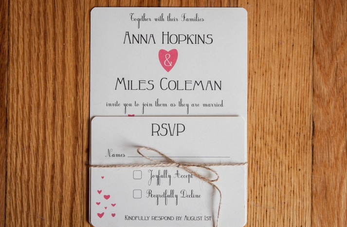 Simple Wedding Invitations with Heart Design