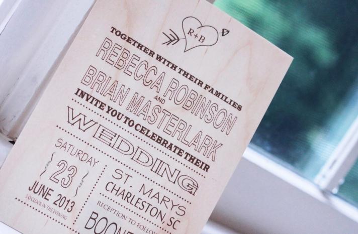 Wood Wedding Invitation Modern Rustic Heart