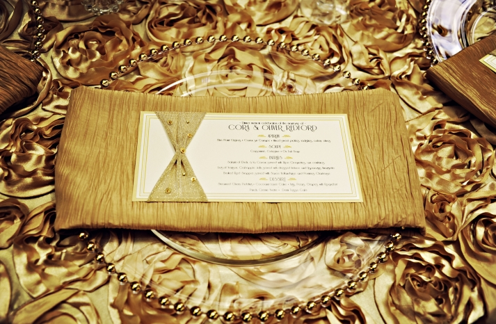 Vintage Gold Old Hollywood Wedding Reception Menu