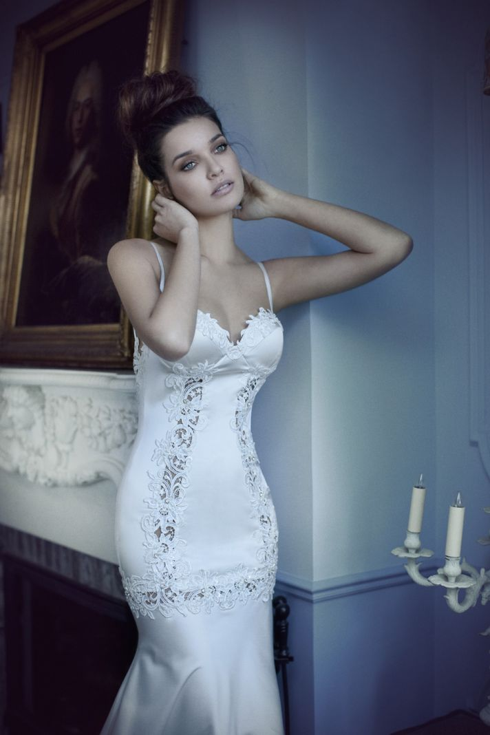 Satin Mermaid Wedding Dress with Touches of Lace