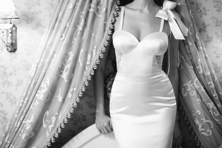 Elegant Corset Bodice Wedding Dress with Sheer Lace Panels at Waist