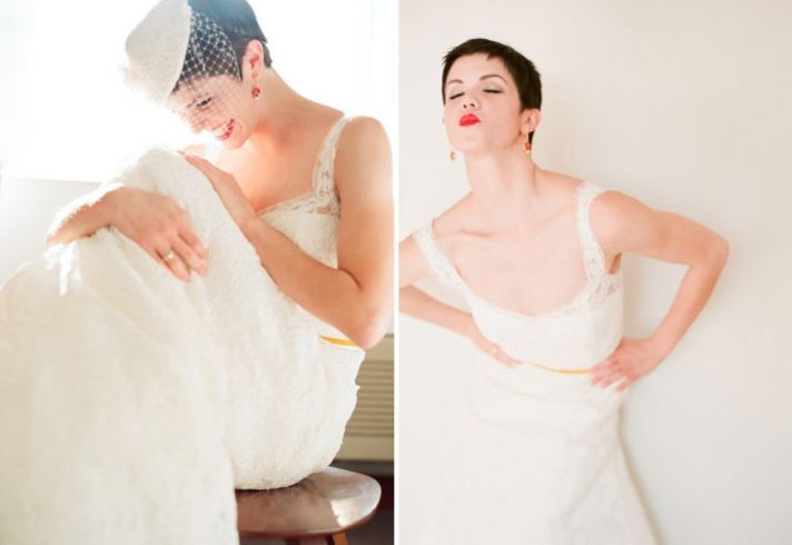 Bright Red Lips Short Pixie Cut on Blushing Bride