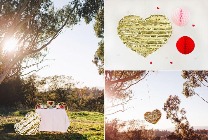 Valentines Day Wedding DIY Gold Pinata