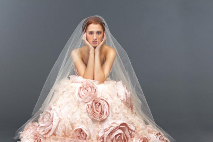 Pink Embellished Wedding Dress