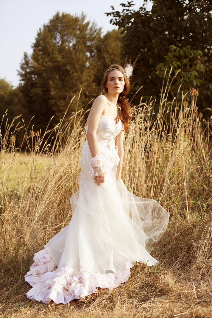Bohemian Tulle Light Pink Wedding Dress